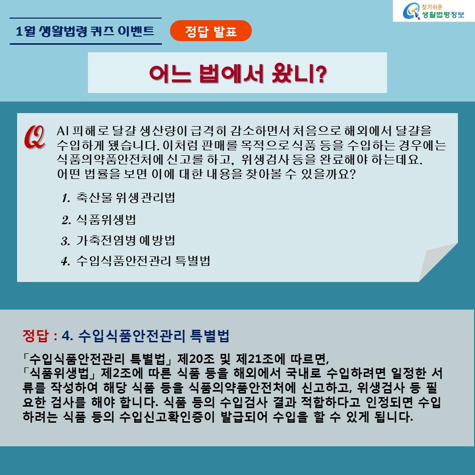 1월 생활법령 퀴즈 이벤트 정답 발표, 수입식품안전관리 특별법